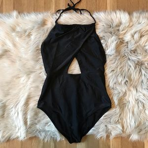 Old Navy Black Open Front One Piece Swimsuit